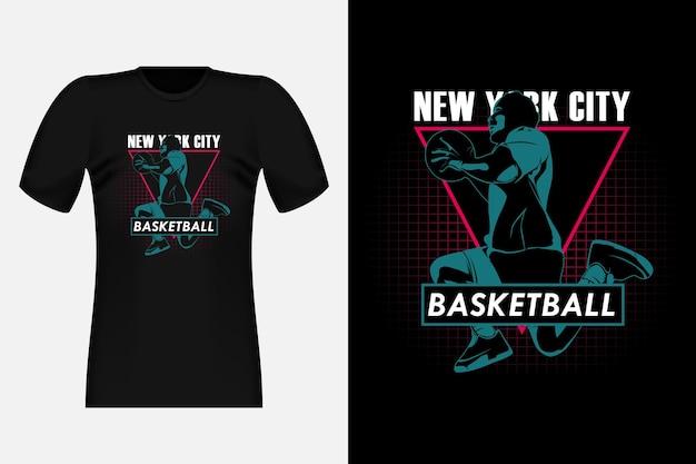 Design vintage per t-shirt con sagoma di pallacanestro di new york city