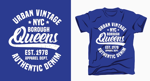 Tipografia delle regine del distretto di new york city per il design della maglietta