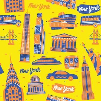 Modello senza cuciture di new york city con elementi di punti di riferimento