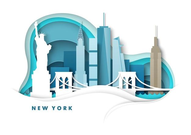 New york city skyline vettoriale carta tagliata illustrazione statua della libertà ponte monumenti famosi in tutto il mondo ...