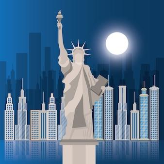 Scena della statua della libertà di new york city