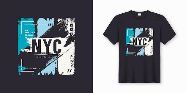 T-shirt alla moda e abbigliamento astratto di new york city. stampa, tipografia, poster. campioni globali.