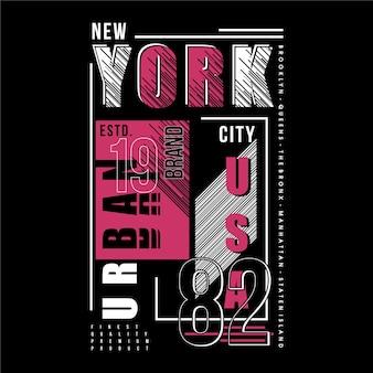 Tipografia di design della maglietta grafica a strisce con cornice di testo di new york city