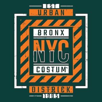 Disegno di tipografia della maglietta della cornice di testo di new york city