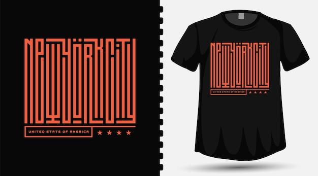 Caratteri tipografici di new york city sulla maglietta