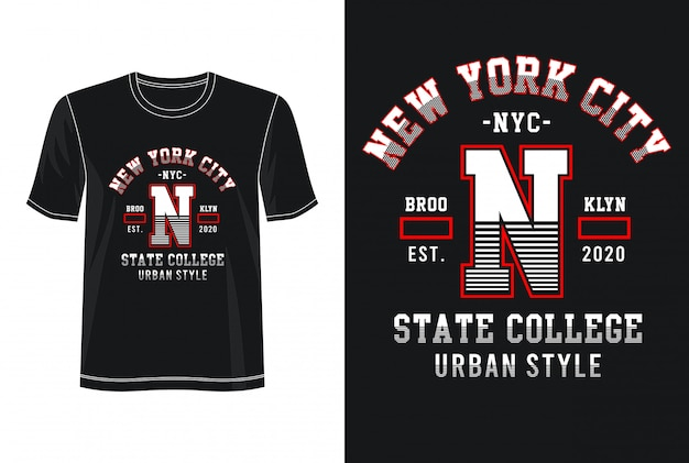 Tipografia new york city per t-shirt stampata