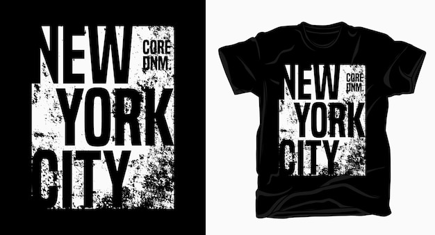 Tipografia di new york city con t-shirt texture