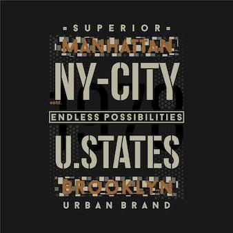 Stile casual di design della maglietta di tipografia grafica degli stati uniti di new york city