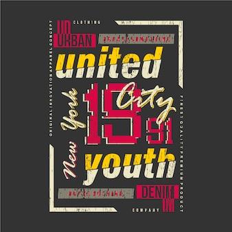 New york city, gioventù unita, maglietta di tipografia grafica in stile urbano
