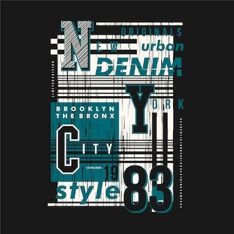 Cornice di testo in denim urbano di new york city piatta per maglietta stampata