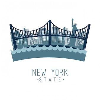 Progettazione di new york sopra l'illustrazione bianca di vettore del fondo