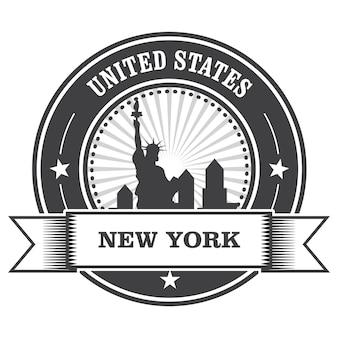 Emblema di new york con la statua della libertà