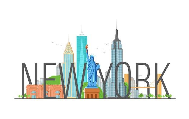 Illustrazione di new york con calligrafia moderna e statua della libertà.