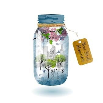 New york in vaso di vetro. schizzo e acquerello