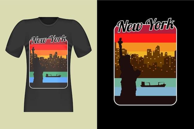 Illustrazione di disegno della maglietta dell'annata della torre della libertà di new york