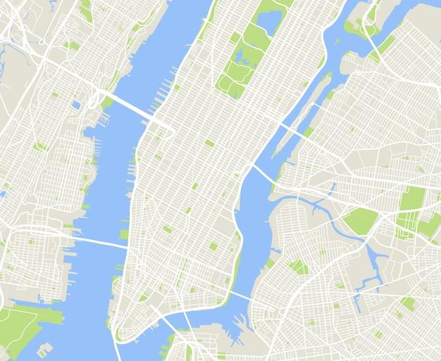 Mappa vettoriale di città urbana di new york e manhattan