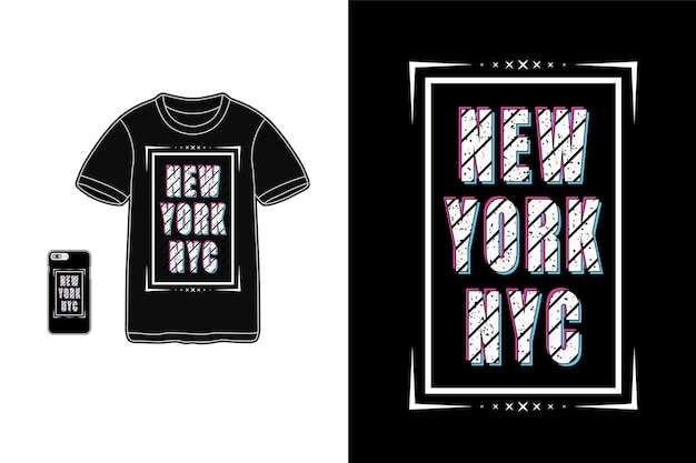 New york nyc, tifografia t-shirt