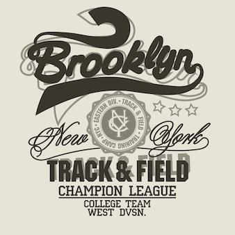 Stampa new york, emblema tipografico brooklyn sport wear, grafica con timbro t-shirt, stampa tee, design di abbigliamento sportivo. vettore