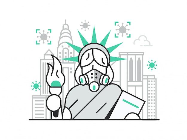 New york sul concetto di pandemia di coronavirus in quarantena con la statua della libertà in maschera respiratoria.