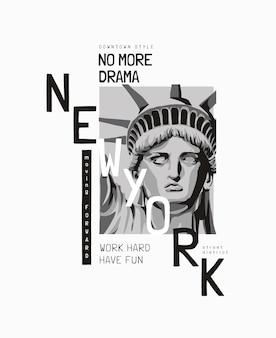 Slogan di new york con l'illustrazione del viso della statua della libertà