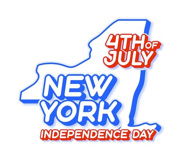 Stato di new york 4 luglio giorno dell'indipendenza con mappa e forma 3d a colori nazionali usa degli stati uniti