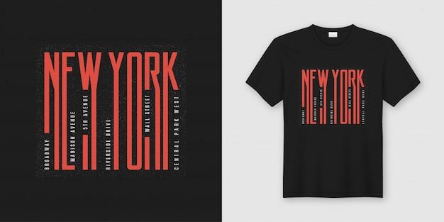 T-shirt alla moda di new york e design di abbigliamento, tipografia,