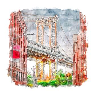 Illustrazione disegnata a mano di schizzo dell'acquerello di new york stati uniti