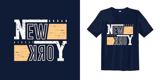 Disegno della maglietta di tipografia di strada urbana di new york
