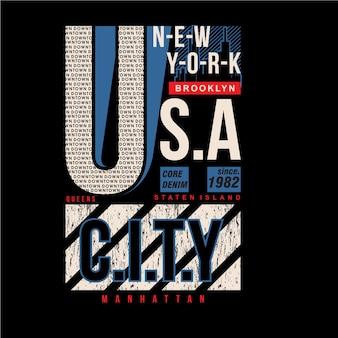 Disegno di tipografia grafica della città di new york, usa