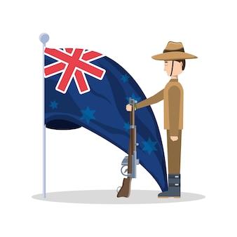 Bandiera della nuova zelanda e soldato anzac in possesso di un'arma