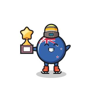 Il fumetto del distintivo della bandiera della nuova zelanda come un giocatore di pattinaggio sul ghiaccio tiene il trofeo del vincitore, design in stile carino per maglietta, adesivo, elemento logo