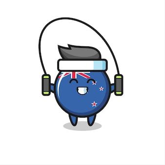 Nuova zelanda bandiera distintivo personaggio dei cartoni animati con corda per saltare, design in stile carino per t-shirt, adesivo, elemento logo