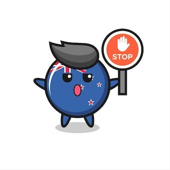 Illustrazione del personaggio distintivo della bandiera della nuova zelanda che tiene un segnale di stop, design in stile carino per maglietta, adesivo, elemento logo