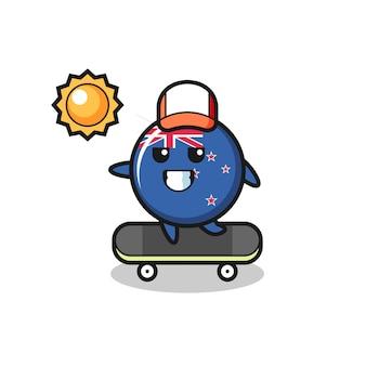 L'illustrazione del personaggio del distintivo della bandiera della nuova zelanda cavalca uno skateboard, design in stile carino per maglietta, adesivo, elemento logo