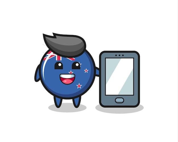 Fumetto dell'illustrazione del distintivo della bandiera della nuova zelanda che tiene uno smartphone, design in stile carino per maglietta, adesivo, elemento logo