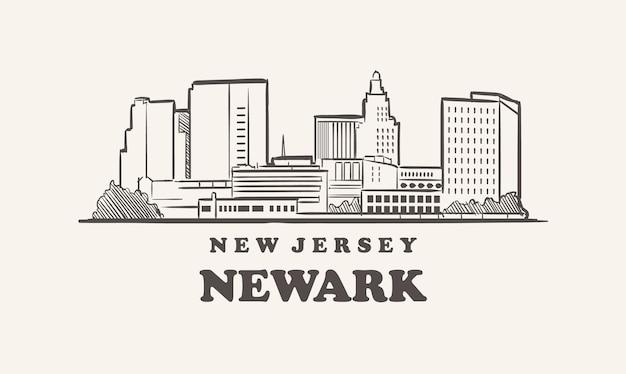 Schizzo disegnato di newark skyline new jersey