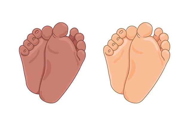 Suole del piede del neonato, a piedi nudi, vista dal basso. piccoli piedi paffuti con graziosi tacchi e dita dei piedi. colore della pelle caucasico e afroamericano. illustrazione vettoriale, stile cartone animato disegnato a mano