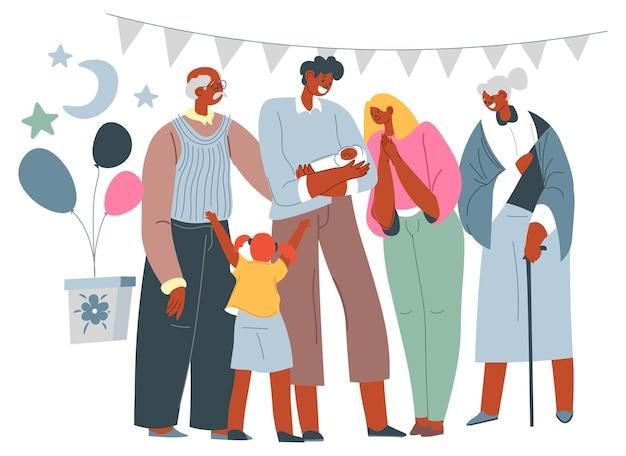 Genitori di compleanno del neonato e vacanza in famiglia