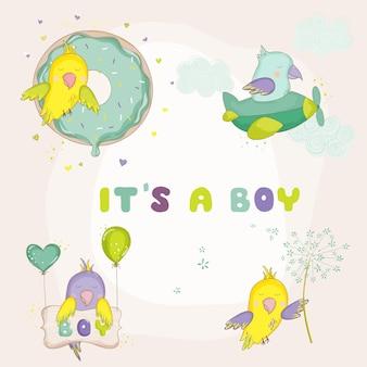 Set di pappagalli carini appena nati per baby shower o biglietti di arrivo del bambino in