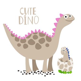 Dino neonato con sua madre