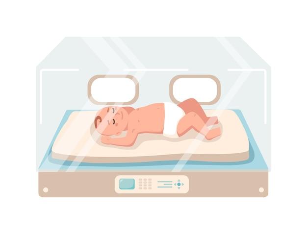 Il neonato si trova all'interno dell'unità di terapia intensiva neonatale isolata su priorità bassa bianca. bambino prematuro che dorme nella scatola dell'incubatrice di vetro. scuola materna del bambino. illustrazione colorata in stile cartone animato piatto