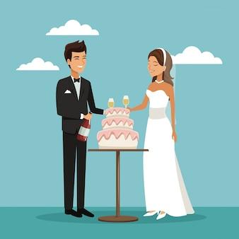 Scena di coppia appena sposata di torta e champagne brindisi