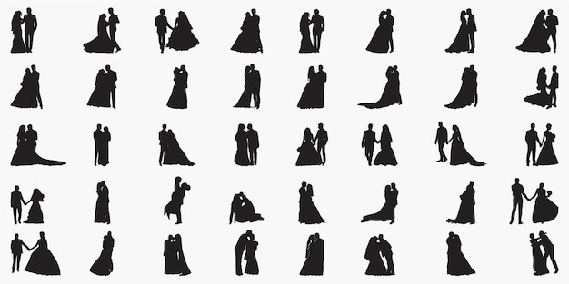Recentemente illustrazione di sagome di sposi