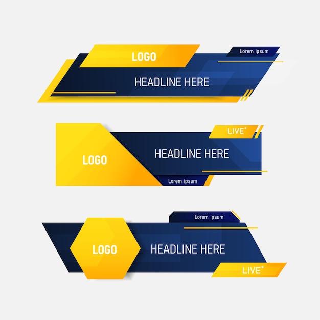 Set di banner terzo inferiore di notizie Vettore Premium