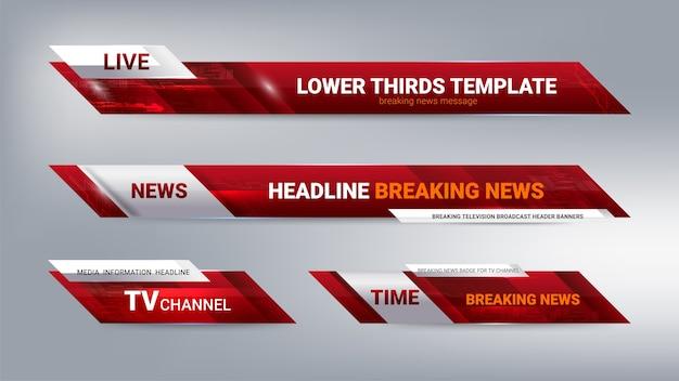 Banner dei terzi inferiori di notizie per la televisione