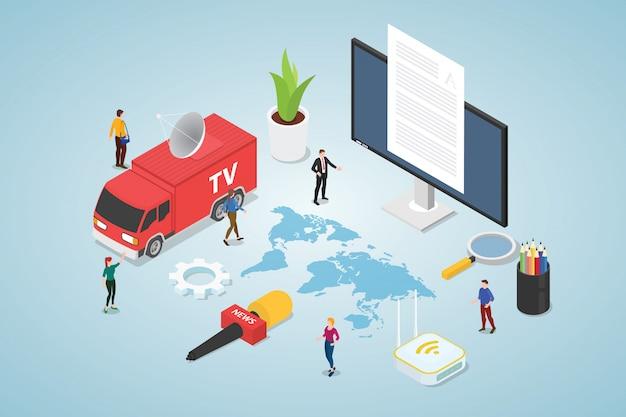 Modello di concetto di notizie e media con furgone tv e microfono di ancoraggio di notizie con moderno stile piatto isometrico Vettore Premium