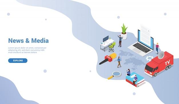 Modello di concetto di notizie e media con furgone della tv con isometrico moderno per homepage di atterraggio del modello di sito web Vettore Premium