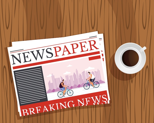 Comunicazione del giornale di notizie e tazza di caffè nel fondo di legno