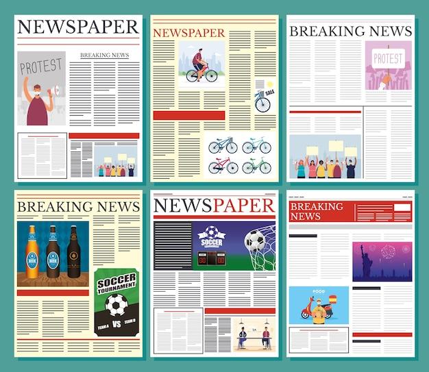 Giornali comunicazione set colonne modello illustrazione