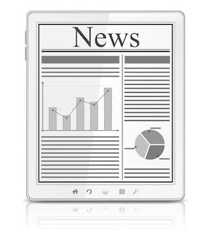 Notizie sullo schermo del tablet pc bianco